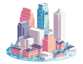 Illustrator绘制时尚的城市建筑效果图