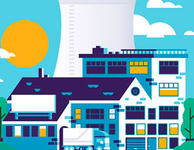 Illustrator绘制卡通风格的工业小镇插画
