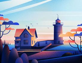 Illustrator绘制磨砂噪点风格的海边插画