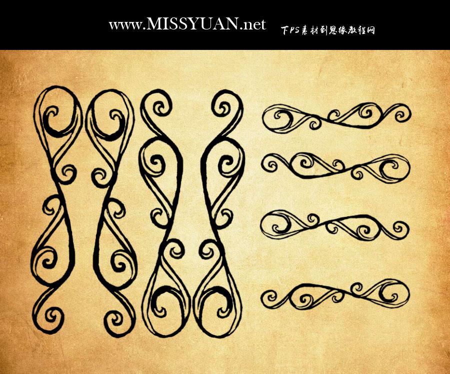 欧式手绘花边装饰PS笔刷