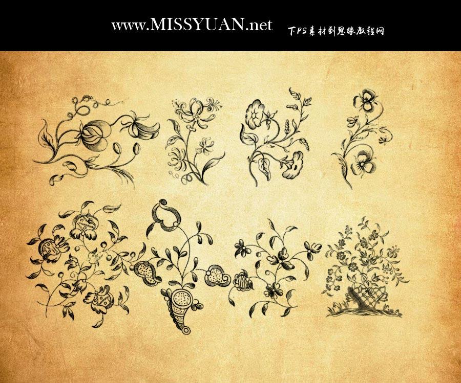 唯美的手绘花藤装饰PS笔刷