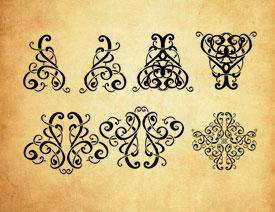 缠绕的对称花纹装饰PS笔刷