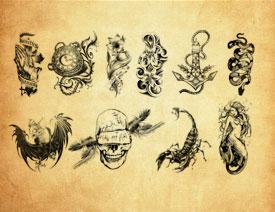 创意的人像纹身图案PS笔刷