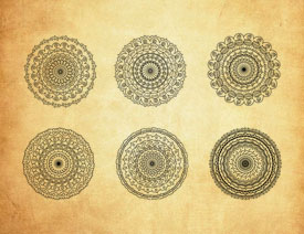 创意的圆形花纹装饰PS笔刷