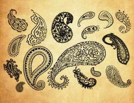 唯美的手绘佩斯利花纹PS笔刷