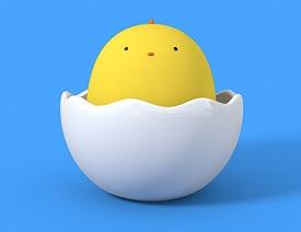C4D制作蛋壳里的小黄鸡3D建模教程