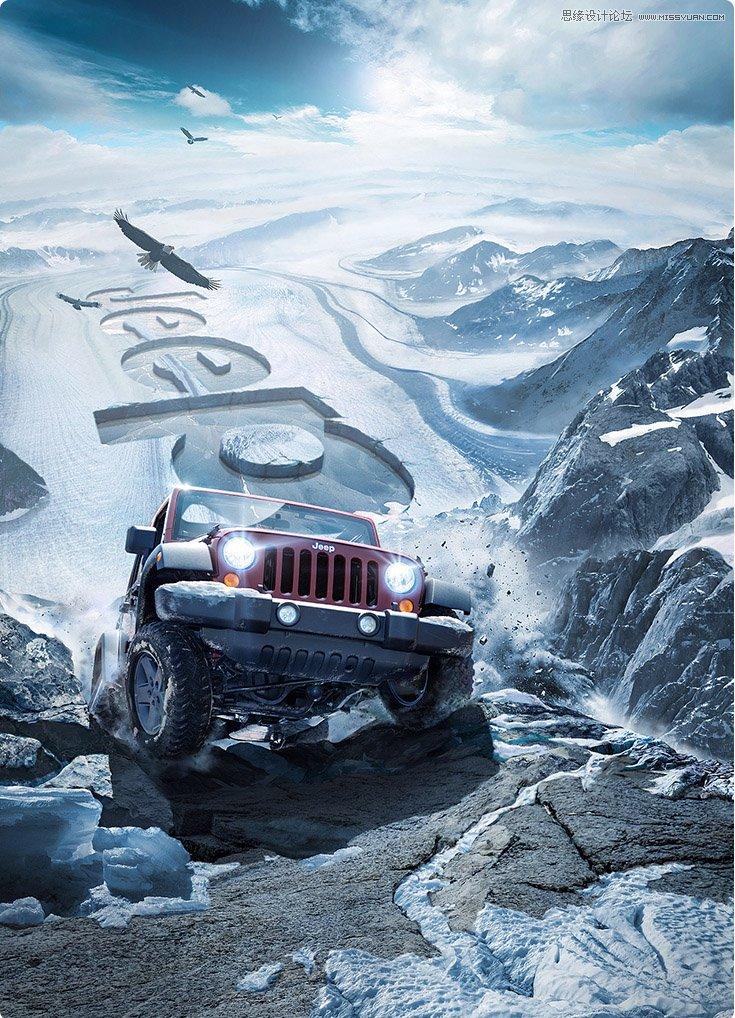 photoshop设计冬季主题风格的吉普车海报