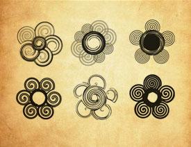 创意的螺旋状花纹PS笔刷