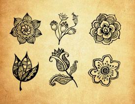 手绘花朵和花枝装饰笔刷