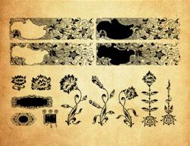欧式古典花纹和花枝PS笔刷