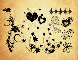 时尚的心形花朵和藤蔓PS笔刷