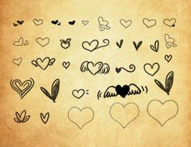 可爱的涂鸦和翅膀心形PS笔刷