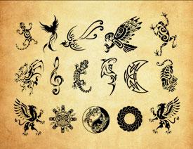 动物为主元素的纹身花纹PS笔刷