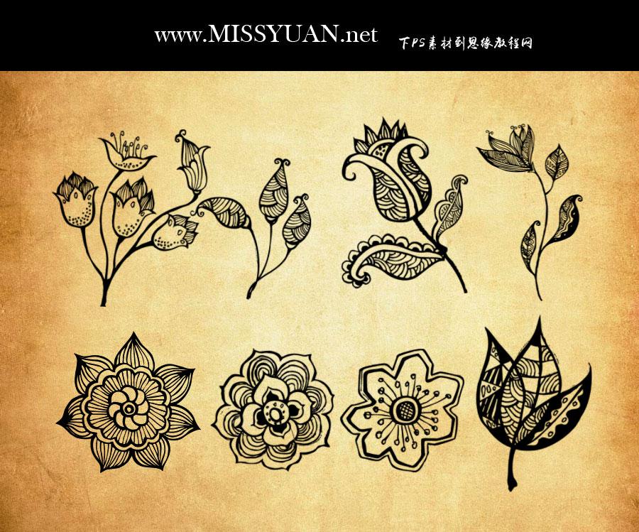创意的花朵和花枝PS笔刷
