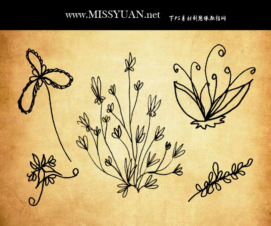 涂鸦手绘植物装饰PS笔刷