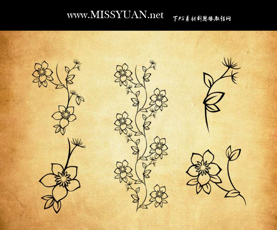简约的线描花朵装饰PS笔刷