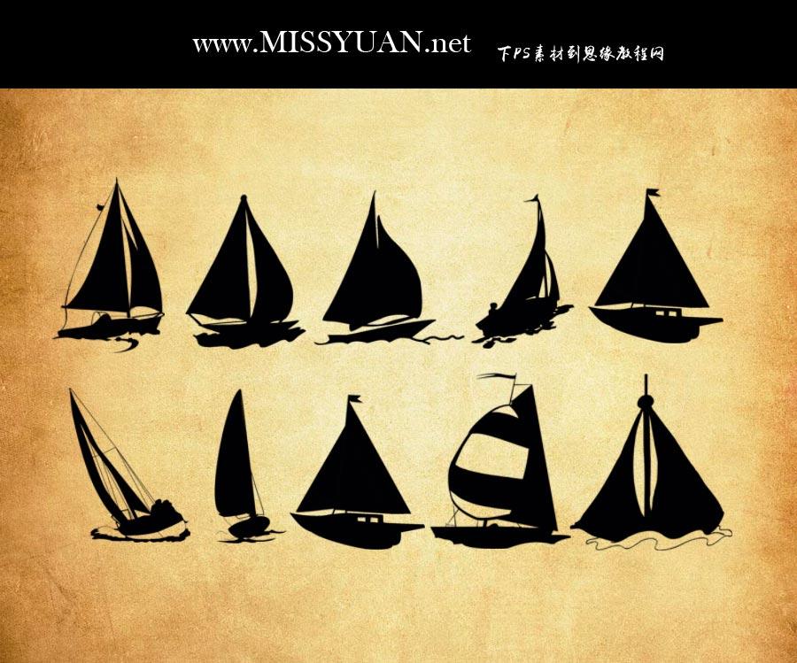 创意的帆船剪影效果PS笔刷