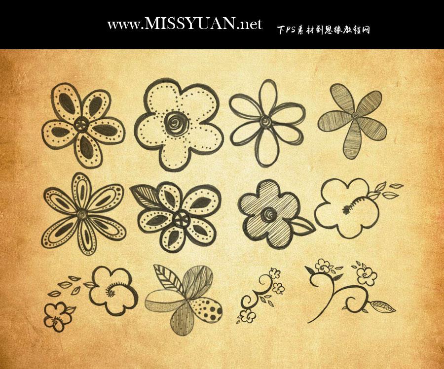 手绘花朵花枝装饰PS笔刷