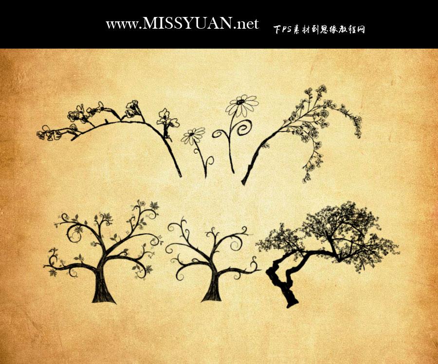 手绘花枝和时尚树木PS笔刷