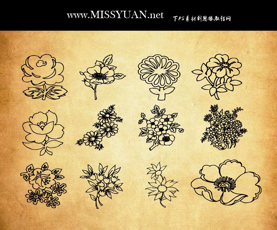 线描鲜花和花束PS笔刷V2