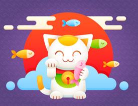 Illustrator绘制卡通可爱的招财猫效果
