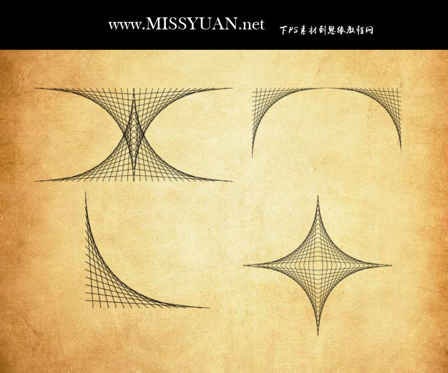 抽象交叉网纹线条图案PS笔刷