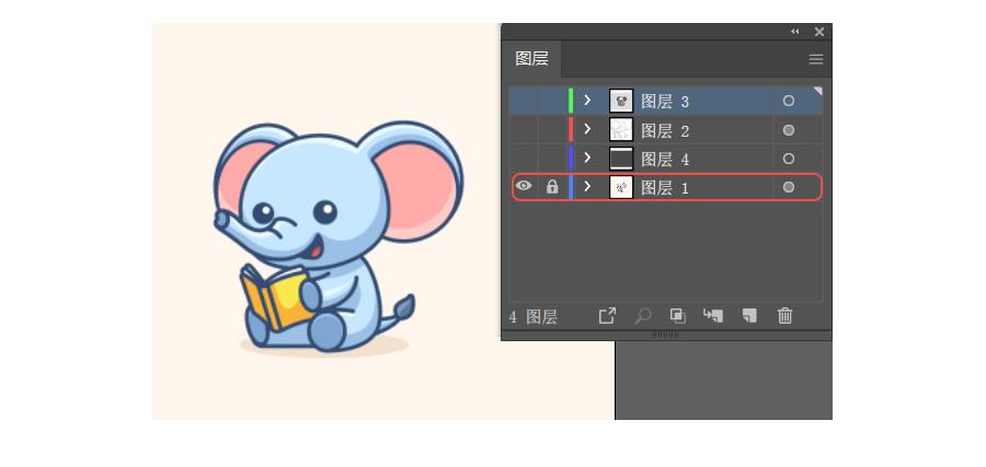 photoshop结合ai绘制卡通风格的小象
