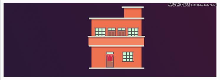 卡通插画:PS绘制扁平化风格的房屋插画,PS教程,思缘教程网