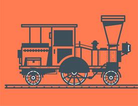 火车插图:AI绘制复古风格的火车插画