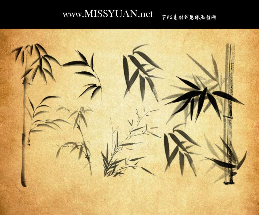 中国风竹子和竹叶PS笔刷