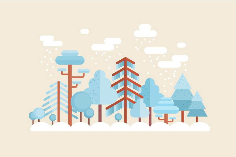 冬季插画 AI绘制唯美的冬季森林场景