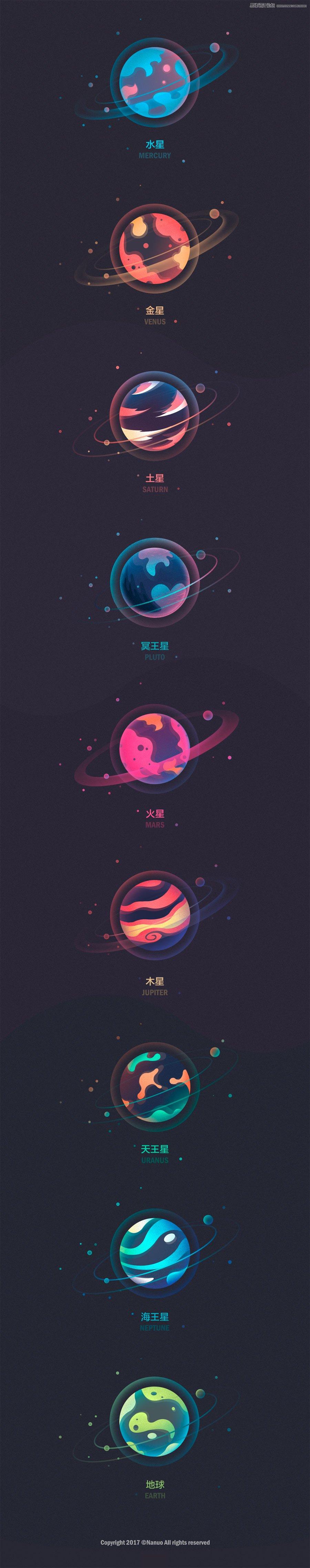 星球绘制:PS绘制时尚的星球插画,PS教程,思缘教程网