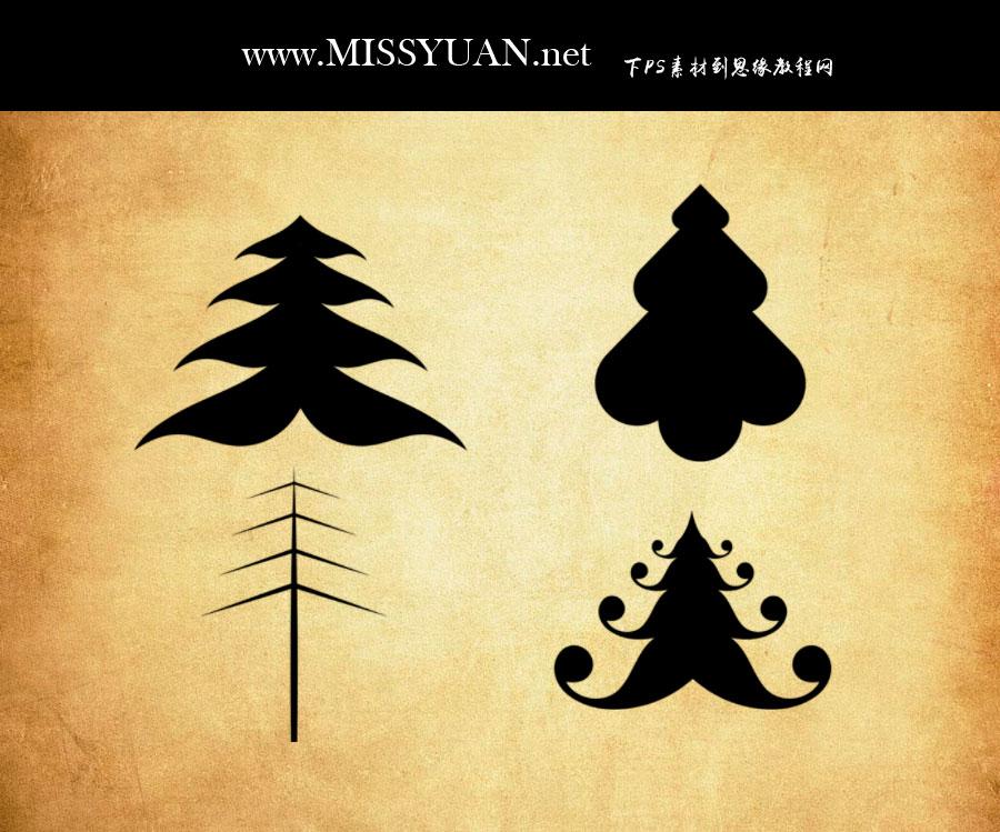矢量风格圣诞树PS笔刷
