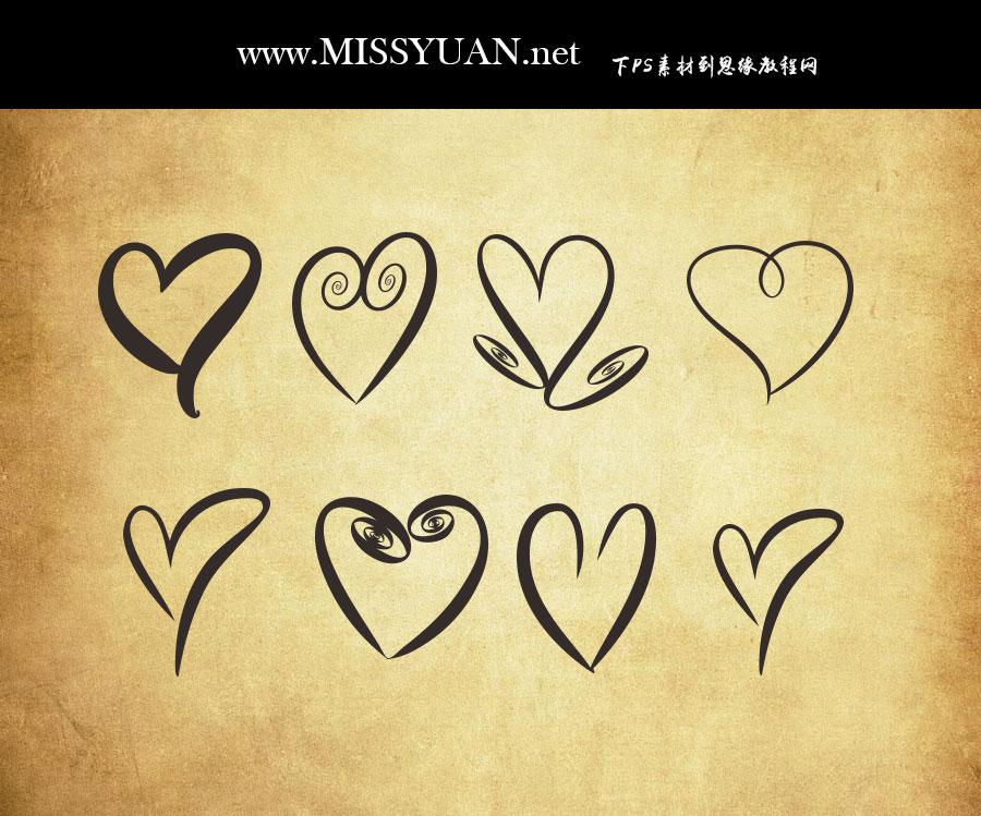 手绘涂鸦的心形图案PS形状