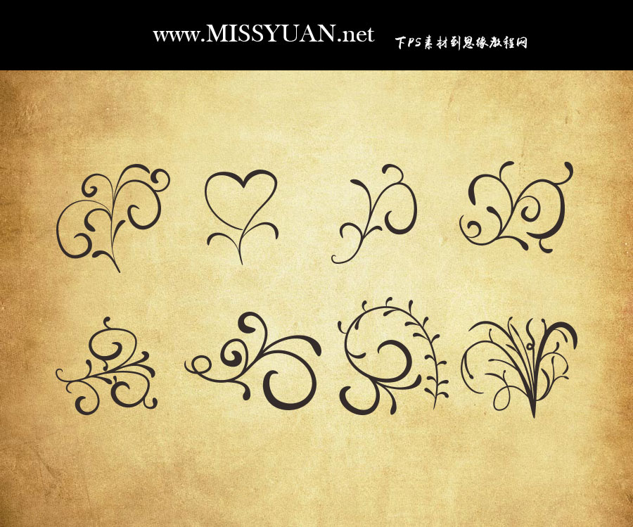 时尚的手绘花纹装饰PS形状