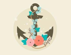 时尚船锚:AI绘制鲜花装饰的船锚图标