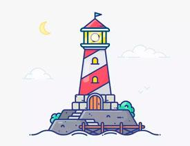 灯塔绘制:AI绘制的灯塔插画