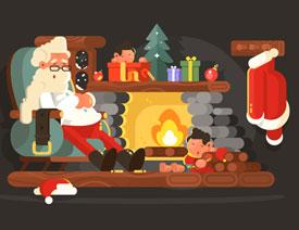 圣诞插画:AI绘制简约风格圣诞节插画