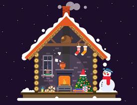 房屋插画:AI绘制圣诞节主题的房屋插画