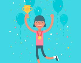 庆祝插画:用AI制作获得奖杯庆祝插画