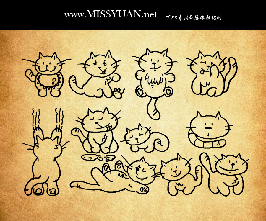 手绘线条猫咪图标PS笔刷