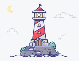 灯塔插画:用AI制作描边风格的灯塔插图