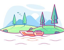 风景插画:用AI制作时尚的描边风景插画