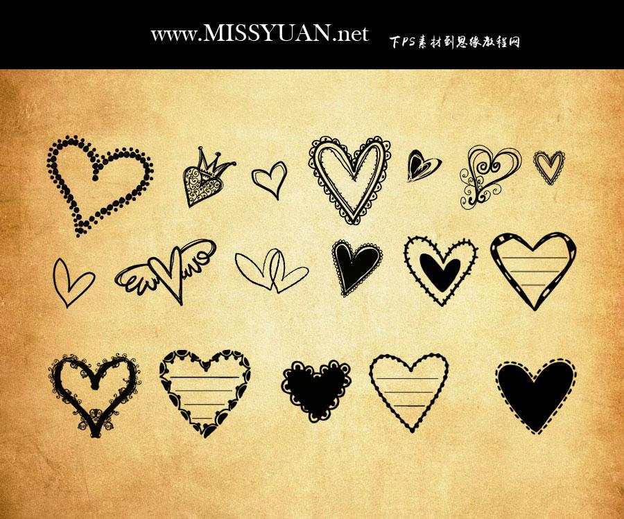 可爱的涂鸦心形PS笔刷