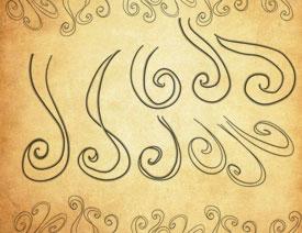 手绘旋转花纹装饰PS笔刷