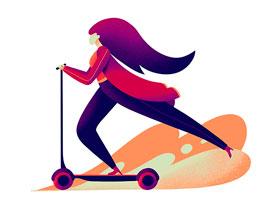 噪点插画:用PS给滑板车人像添加噪点