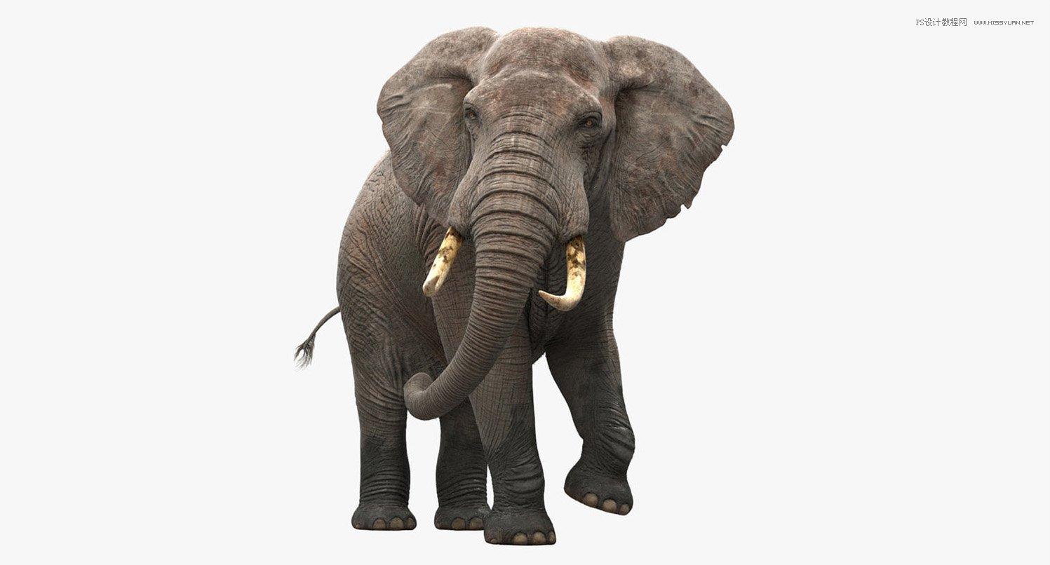 最终效果  1、打开大象素材,抠出,然后新建一个图层放在大象底下,填充合适渐变色。   2、接下来就是比较让人犯晕的拼贴过程,先从大象的后面拼起。就是把山峰的素材拖进来,然后载入抠好的大象选区,添加蒙版。