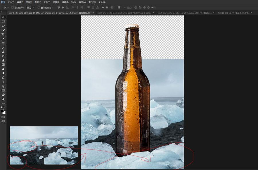 啤酒海报:用PS合成冰冻的啤酒海报,PS教程,思缘教程网