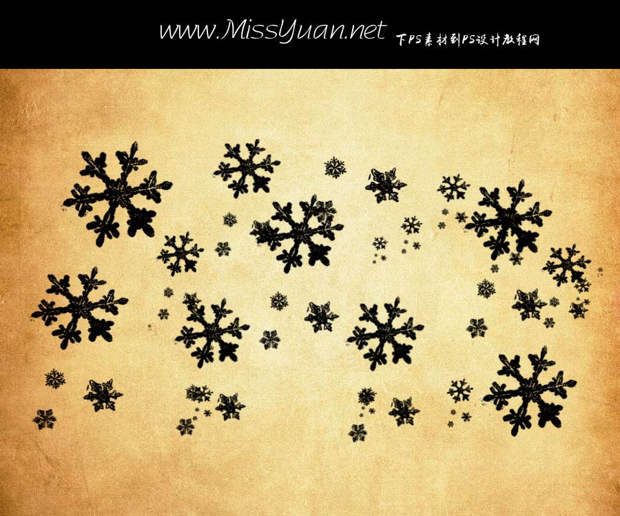 散布的雪花形状PS笔刷