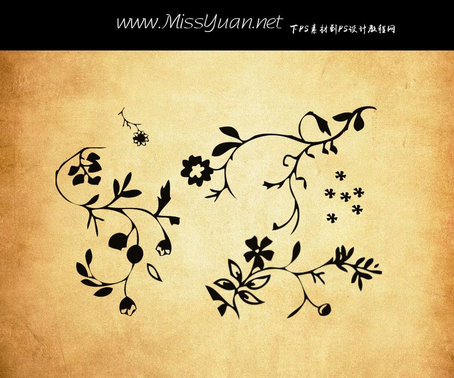 可爱的植物花纹装饰PS笔刷